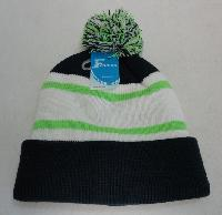 Double-Layer Knitted Hat with PomPom [Navy/Neon Green]